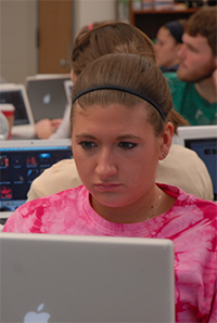 Student on computer in class