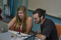 Penn State students take part in a virtual tutoring class with ELL students.